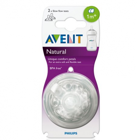 Avent Natural Slow Flow Teat 1m+ (2 Hole) Twin Pack
