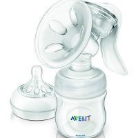 Product Description Philips Avent Natural Manual Breast Pump watch..gif More comfortable pumping position due to unique design The breast pump has a unique design, so your milk flows directly from your breast into the bottle, even when you are sitting up straight. This means you can sit more comfortably when pumping: no need for you to lean forwards to make sure all your milk ends up in the bottle. Sitting comfortably and being relaxed when pumping naturally helps your milk to flow more easily. Soft massage cushion for warm feel Our massage cushion has a new soft velvety texture that gives a warm feel to the skin for comfortable, gentle stimulation of your milk flow. During pumping, it gently mimics your baby's suckling for natural let down and clinically proven effectiveness. The soft massage cushion is designed to comfortably fit the majority of mums. Includes our Natural bottle and teat for natural latch on The wide breast-shaped teat promotes natural latch on similar to the breast, making it easy for your baby to combine breast and bottle feeding. //images.philips.com/is/image/PhilipsConsumer/F400041468-FIL-global-001?size=284,160&align=-1,-1&$jpglarge$ Compact lightweight design The breast pump has a compact design, which makes it easy to position. Its ergonomically-shaped handle offers a comfortable hold and full control when expressing milk. Being small and lightweight means it is easy to store and transport, making pumping on-the-go more discreet. //images.philips.com/is/image/PhilipsConsumer/F400041485-FIL-global-001?size=284,160&align=-1,-1&$jpglarge$ Intuitive assembly. Easy visual matching of parts Easy visual matching of parts for intuitive assembly. //images.philips.com/is/image/PhilipsConsumer/F400041507-FIL-global-001?size=284,160&align=-1,-1&$jpglarge$ Fully compatible range Compatible with other feeding products in our range This breast pump can be used in combination with other feeding products in the Philips AVENT range, including our Classic bottles and milk storage containers. Philips AVENT also provides a range of breast care accessories to help you breastfeed for longer and enhance your comfort. Easy cleaning thanks to the small number of separate parts Cleaning is easy, thanks to the small number of separate parts. All parts are dishwasher proof. Easy manual operation The manual breast pump is ideal if you express milk occasionally and value compactness. Easily operated with one hand. Highlights Sit more comfortably with no need to lean forward *More comfortable pumping position due to unique design Gently stimulates natural let down and milk flow *Soft massage cushion for warm feel Easy to combine breast and bottle feeding *Includes our Natural bottle and teat for natural latch on Easy to use, store and transport *Compact lightweight design Other benefits *Intuitive assembly. Easy visual matching of parts *Compatible with other feeding products in our range *Easy cleaning thanks to the small number of separate parts *Easy manual operation TECHNICAL SPECIFICATIONS: Everything you need to maintain your milk supply and to express and store your breast milk when away from your baby. Contains: • 1 Manual breast pump with funnel cover • 1 Avent Natural feeding bottle 4oz/125ml • 1 Extra soft newborn teat pack • 1 Sealing disc (for milk storage) • 2 Avent Disposable Breast Pads-Night • 2 Avent Disposable Breast Pads-Day Material :BPA-Free Country of origin :England