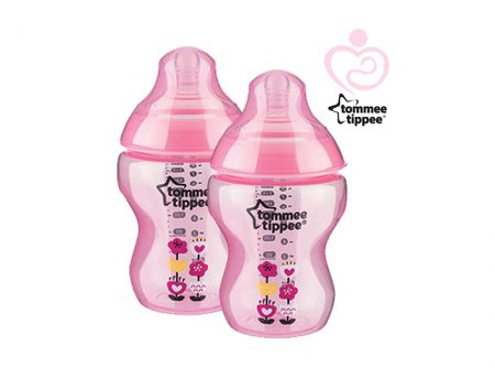Tommee Tippee - Coloured Bottle Flower Pink