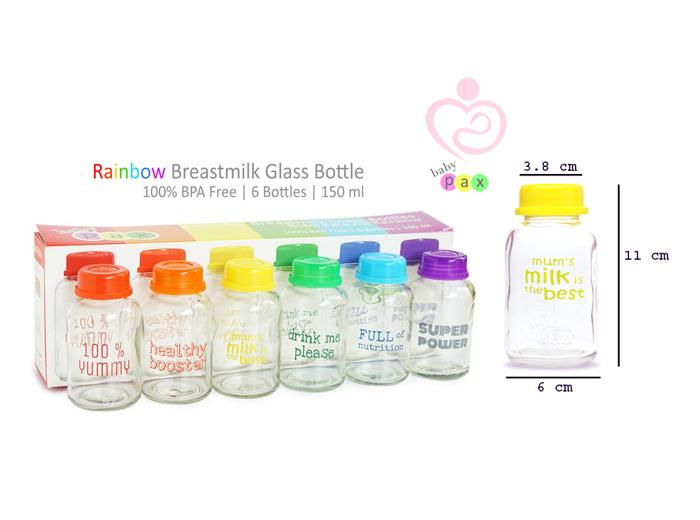 Baby Pax Glass Milk Storage Bottle 6pcs Mothers